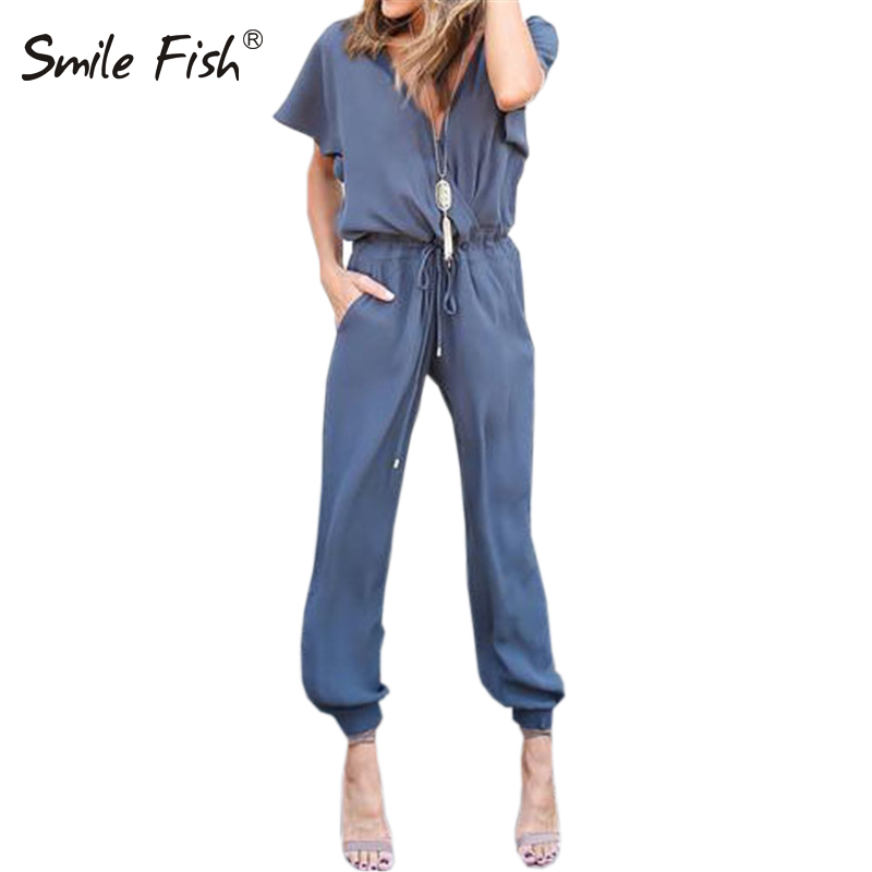 Women Summer Jumpsuits 2018 Rompers Sexy V Neck Bandage Pleated Waist Pocket Womens Jumpsuit Loose Overalls Playsuit Femme GV740