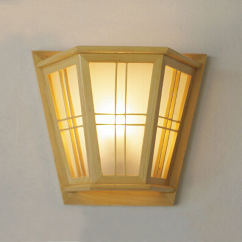 Classical Pine Solid Bedroom Wall lamp Native wood wall light indoor ...