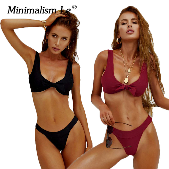 4a6e58ab9d6fa Minimalism Le 2018 Sexy Bandage Swimwear Solid Bikini Sets New Style Swimsuit  Women s Beach Wear Bikinis Bathing Suit Biquini