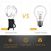 25Ft G40 Globe String Lights With 25 Clear Bulbs UL Listed For Indoor Outdoor Light Decoration