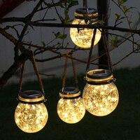 Thrisdar Crack Glass Ball Solar Hanging Light With 3M 30 LED Copper Fairy Light Landscape Patio Garden Mason Jar Solar Light