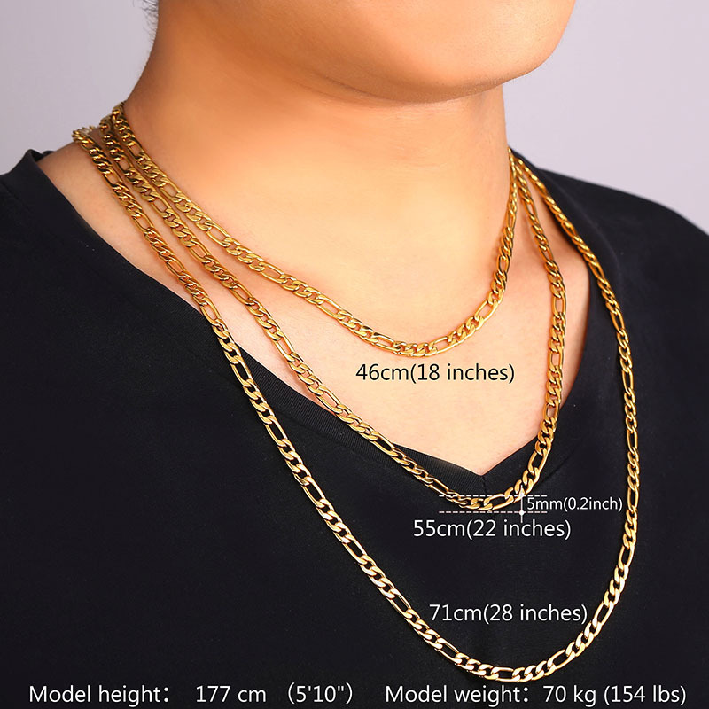 U7 trendy necklaces high quality 316l stainless steel 55cm71cm u7 trendy necklaces high quality 316l stainless steel 55cm71cm figaro chains necklaces pendants men jewelry n324 in chain necklaces from jewelry mozeypictures Choice Image
