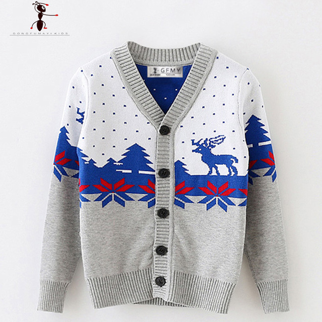 Warm Autumn Winter V-neck Full Sleeve Boys Knitted Sweater Cardigan Clothes Pull Enfant Garcon Infantil 2521