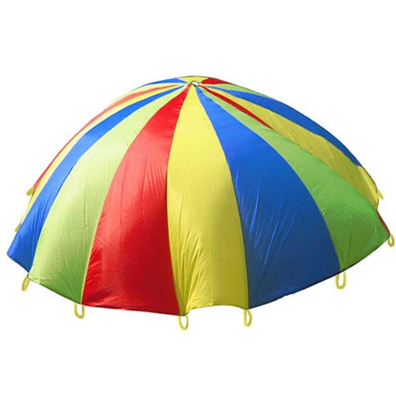 Dia 2M 3M Child Kid Sports Development Outdoor Rainbow Umbrella Parachute Toy Jump sack Ballute Play