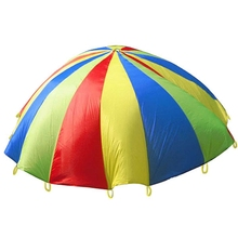 Dia 2M/3M Child Kid Sports Development Outdoor Rainbow Umbrella Parachute Toy Jump-sack Ballute Play Parachute 8/16 Bracelet