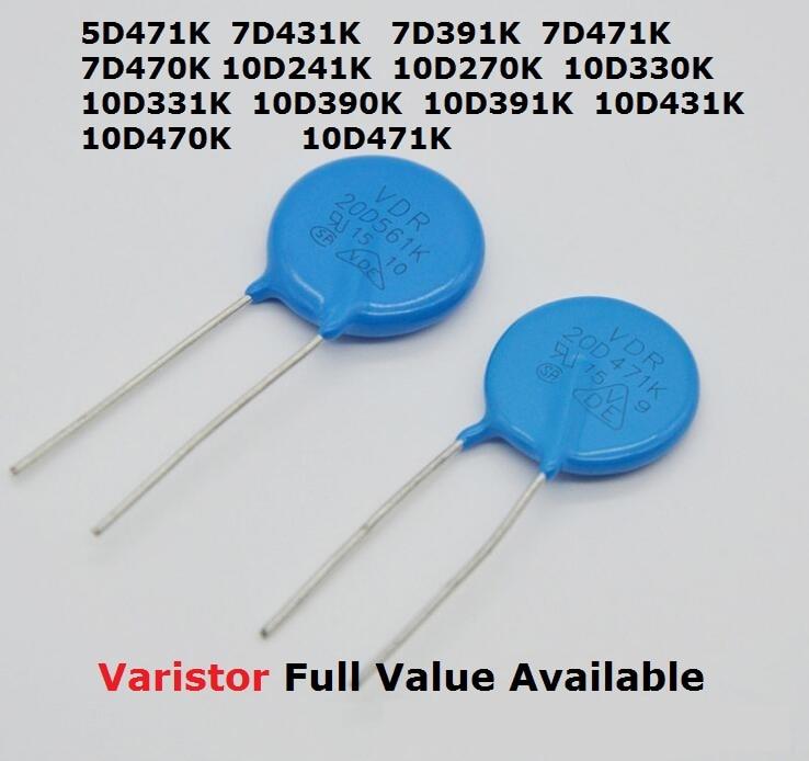 10PCS Varistor 7D470K 7D431K 7D391K 7D471K 10D270K 10D330K 10D331K 10D390K 10D391K 10D431K 10D470K 10D471K 10D241K 5D471K