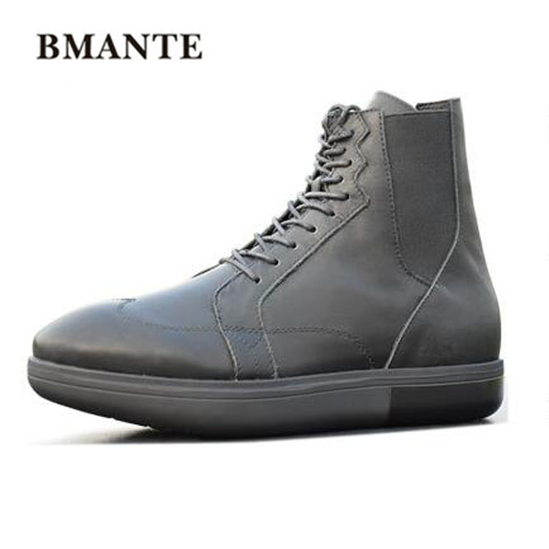 Spring New Men Genuine Leather Casual Shoes Trainers Male Lace-Up Owen Boots Flats High Top Ankle Roma Boots Black Sneaker 2018 new spring autumn fashion martin boots male high top casual canvas motorcycle boots flats lace up ankle army boots qa 05