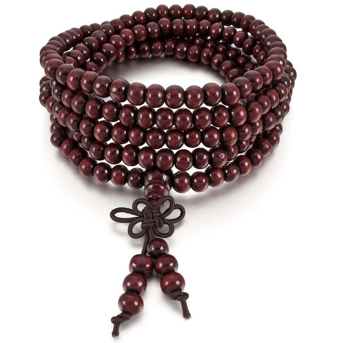 216pcs 6 x 200mm Tibetan Buddhist Prayer Beads Necklace Buddha Mala Wood Knot Wrist Cuff Bracelet Bangle DIY Jewelry Dark Red