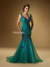 Backless 2017 Mutter Der Braut Kleider Meerjungfrau V-ausschnitt Grün Tüll Blumen Lange Abendkleider Mutter Kleider Für Hochzeit