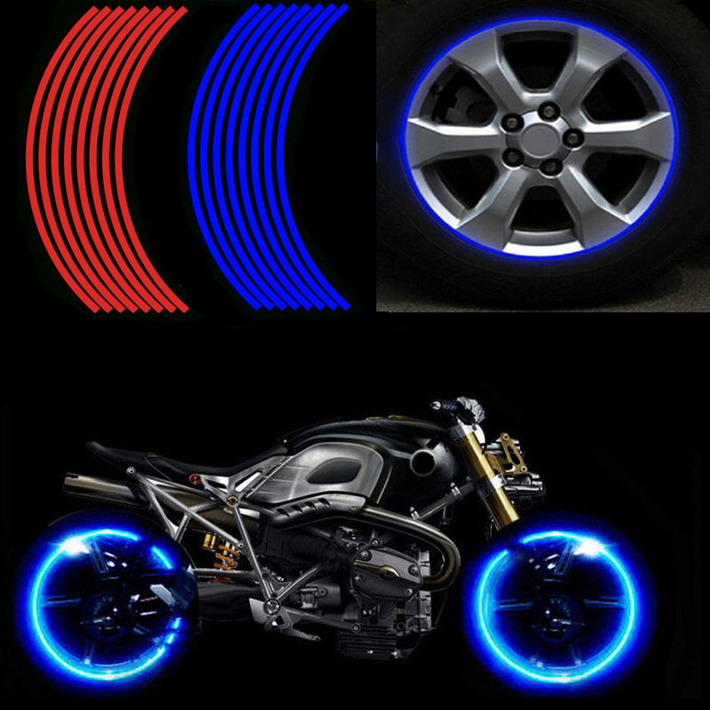 16 Pcs Strips Motorcycle Wheel Sticker Reflective Decals Rim Tape Bike Motobike Decal 17'/18' For YAMAHA HONDA SUZUKI Harley BMW