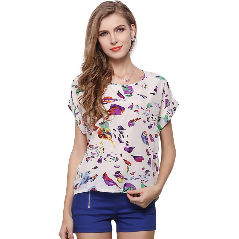 Women's Clothing Discreet 2016 Aliexpress Europe Women Blouses Summer Short-sleeved Camisa Feminina Blusa Print Blouse Plus Size Shirt Vestidos Lh1213