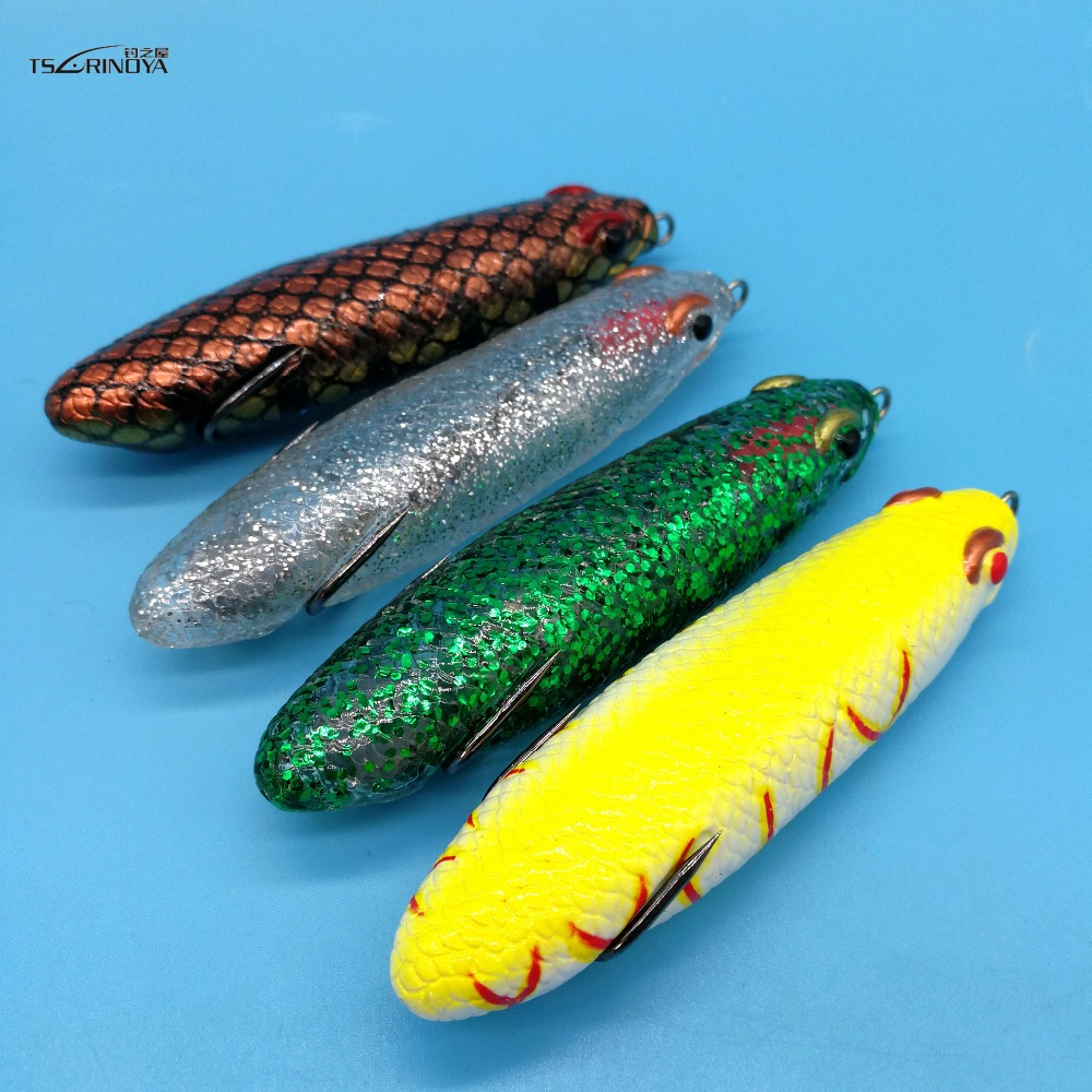 TSURINOYA 4PCS LOT Pencil Frog soft lure 16 5g 90mm Top water Double hook Frog Snakehead Fishing Lure in Fishing Lures from Sports Entertainment
