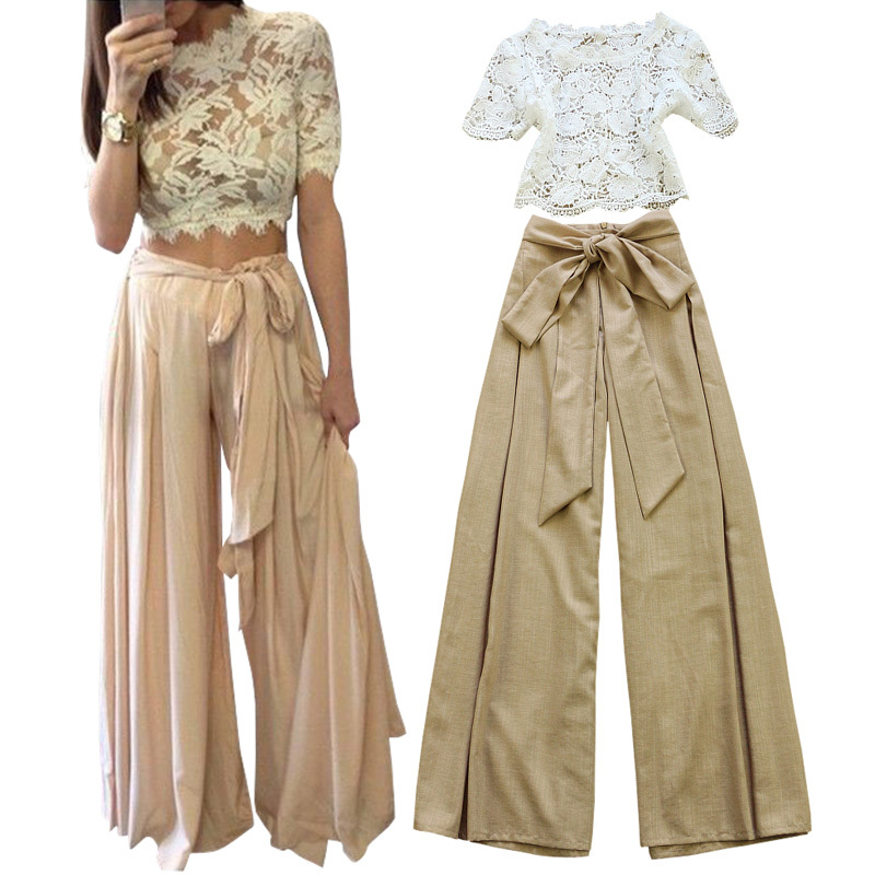 9a4d6e0a58 2015 womens fall fashion women pant suits sash belt low rise womens wide  legs pants linen pants +crochet top white lace crop top