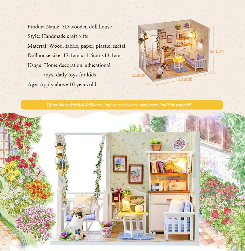 Model Building Architecture/diy House/mininatures Sunny Miniature Dollhouse Tin Box 3d Handmade Puzzle Dollhouse Kit With Furnitures Educational Toy For Kids Birthday Christmas Gift