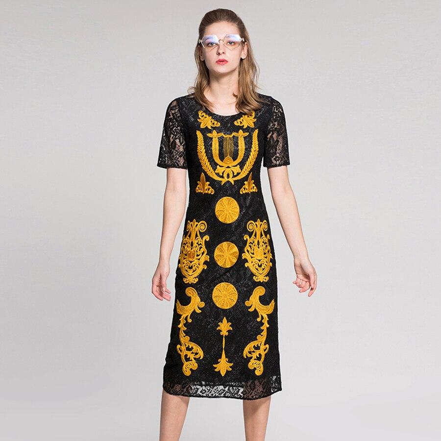 Broderie Mi Robe High Robes Manches Mince Femmes 2019 Mode Top Printemps Street mollet Évider Fleurs Dentelle À Courtes Noir 66Uqrwzx
