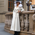 2016 Korean Fashion Autumn Winter Ultra Long Wool Coat with Really Fox Fur Collar White Overcoat Single Breasted Female Outwear