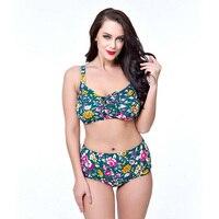 Sexy Floral Printed High Waist Bikini Push Up Plus Size Tankini Set High Neck Swimsuit Bottom