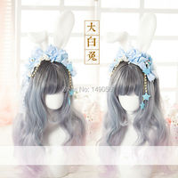 Japanese harajuku Style Sweet Lolita Handmade Hair water blue Dessert Bunny Cosplay rabbit headband Party Accessory