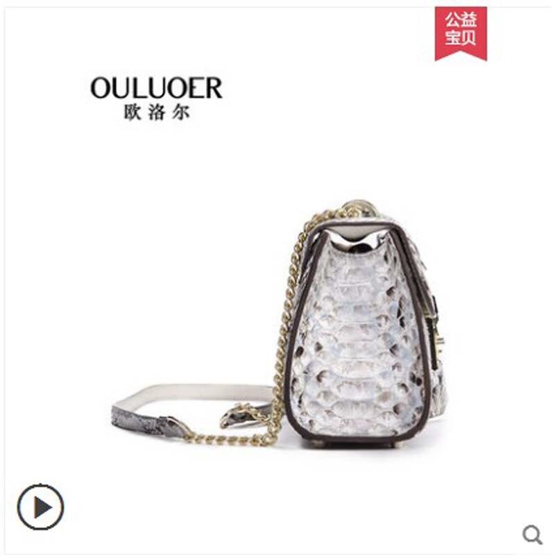Authentic Mode Frauen Neue Python Ouluoer a2 Einzel 2018 Crossbody Leder A1 Kette Tasche tasche Trend schulter Haut 1dqdw7
