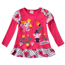 Girls Long Sleeve T-Shirt Cotton Embroidered Figure Round Neck Top Breathable Comfortable Kids Wearing Tops T-Shirt Girls F7135