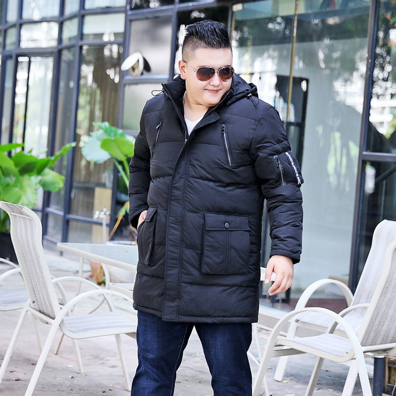Image 4 - Winter plus size  oversize code  long section of white duck down jacket big size  male fat man men shut coat 10XL 9XL 8XL-in Down Jackets from Men's Clothing