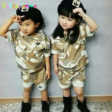 Boys Clothing Fashion Camouflage Print Children Army Military Outfit T-shirt+Pant 2PCS Girls Set Kids Tracksuit Baby Romper A029(China)