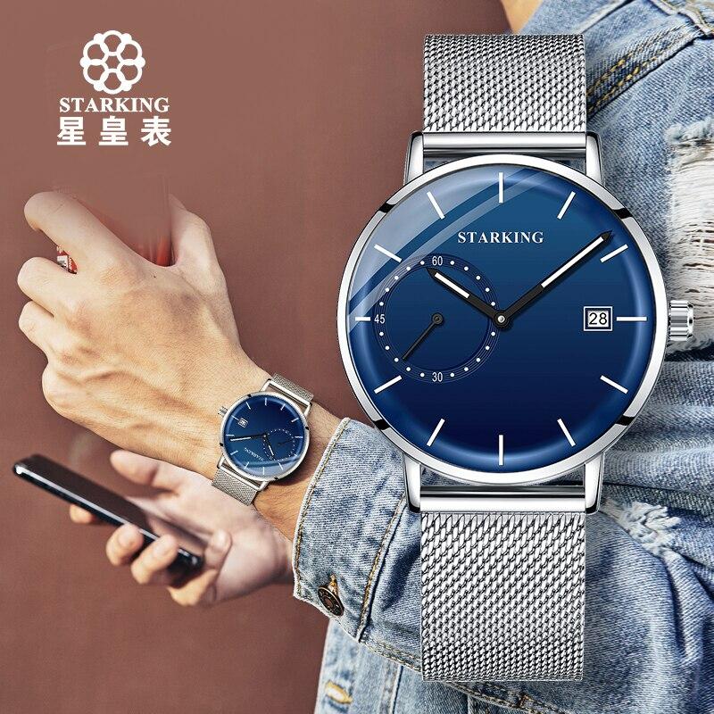 Image 5 - STARKING Men Watch Luxury Quartz Analog Clock Mesh Band Leather Strap SET Watch Auto Calendar Second Dial Watch Man RelogioQuartz Watches   -