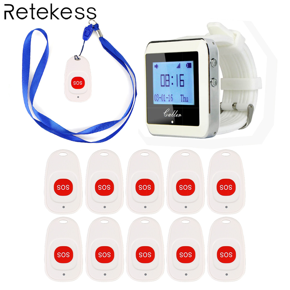 Wireless Hospital Nurse Calling System 1 Watch Receiver 10 Call Bell Emergency Call Button for Hospital