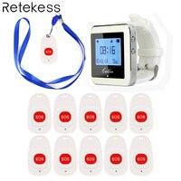 Draadloze Ziekenhuis Verpleegkundige Oproepsysteem 1 Wachtontvanger 10 Call Bell Noodoproeptoets voor Ziekenhuis Patiënt Ouderen F4466B