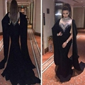 Kaftan Preto Vestidos Alta Neck Beading Contas de Cristal Lantejoulas Chiffon Da Sereia Longo Novo vestido de Noite abendkleider 2016 Vestidos