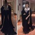 Vestidos de caftán Negro Cuello Alto Abalorios de Cristal Perlas de Lentejuelas Gasa de La Sirena Larga Nueva abendkleider 2016 Vestidos de Noche