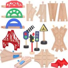 Друзья деревянный мост ПИРСЫ деревянный поезд треки набор аксессуары для поезда трек части блоки игрушки bloques de condesigcion