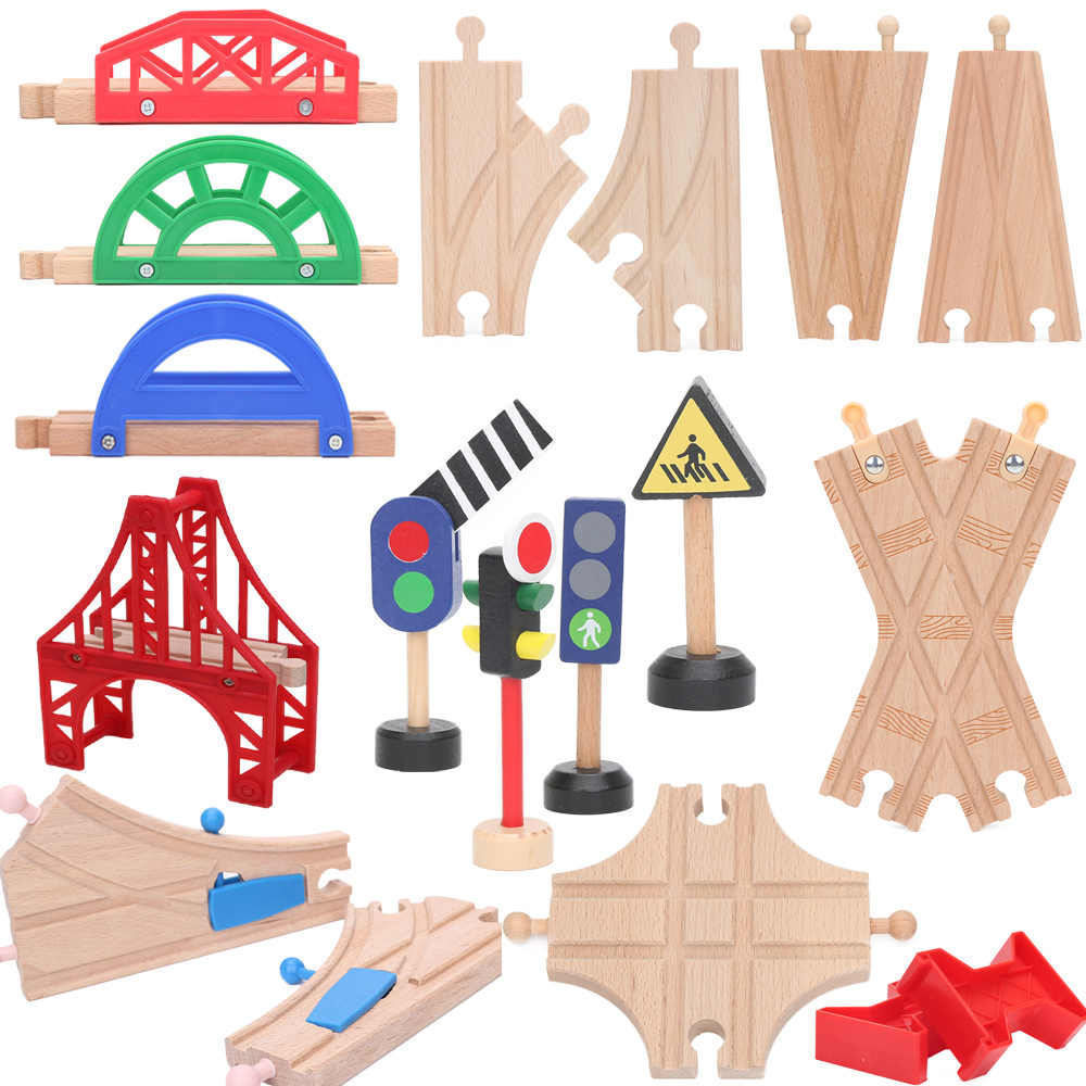 Friends Wooden Bridge Piers Wooden Train Tracks Set Train Accessories Track Pieces Blocks Toys bloques de construccion