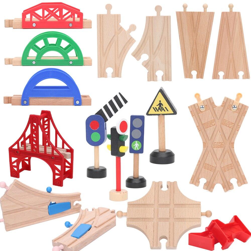 Friends Wooden Bridge Piers Wooden Train Tracks Set Train Accessories Track Pieces Blocks Toys bloques de construccion