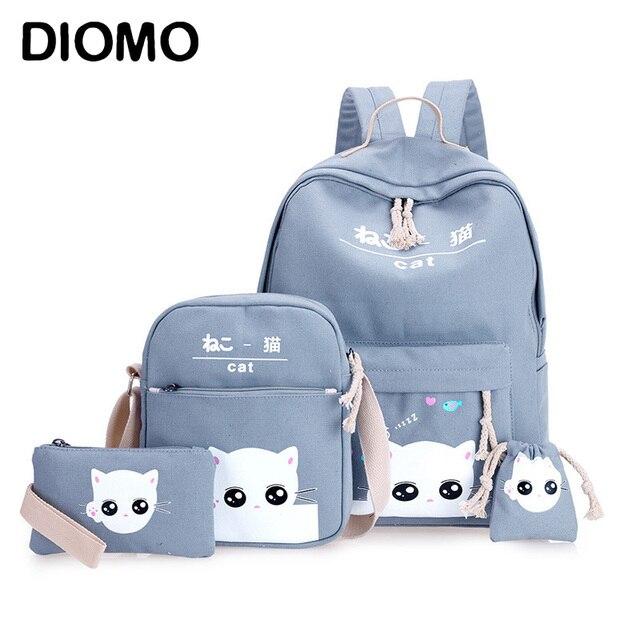 DIOMO 4 יח\סט מחשב נייד תרמילי בית ספר עבור בנות בני נוער נשי Bagpack Sac Dos Femme חמוד חתול בד ילקוט ילדים