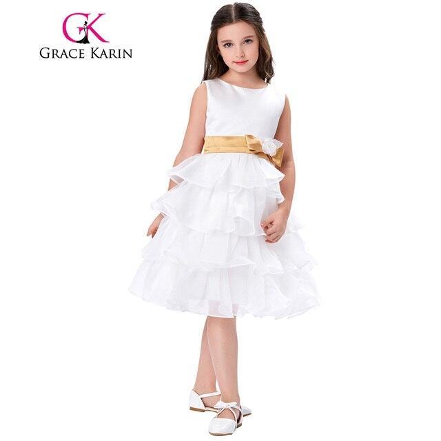 White Satin Flower Girl Dresses