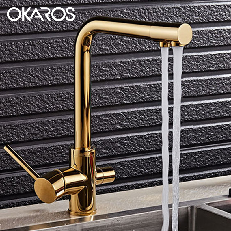 OKAROS Golden Kitchen Faucet Water Purifier Faucet Dual Sprayer Drinking Water Tap Vessel Sink Mixer Tap Torneira newly arrived pull out kitchen faucet gold sink mixer tap 360 degree rotation torneira cozinha mixer taps kitchen tap