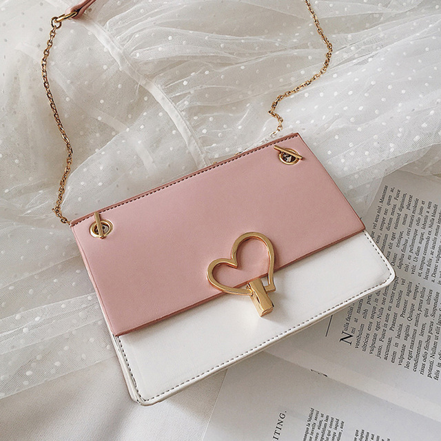 ETAILL 2019 Sweet Heart Shape Small Pink Ladies Messenger Bags PU Leather Panelled Shoulder Bags Women Crossbody Bag for Girl