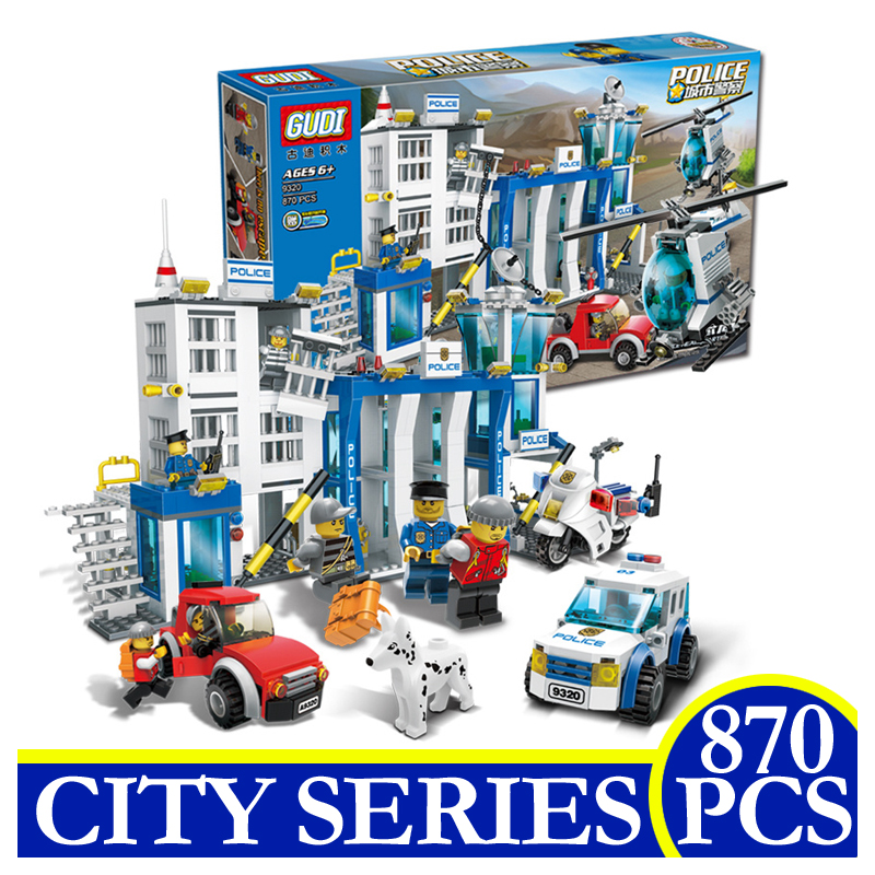 9320 870Pcs Police Station Helicopter Car Motorcycle Model Building Blocks Bricks Educational Children Gifts Compatible LEPIN police pl 12921jsb 02m