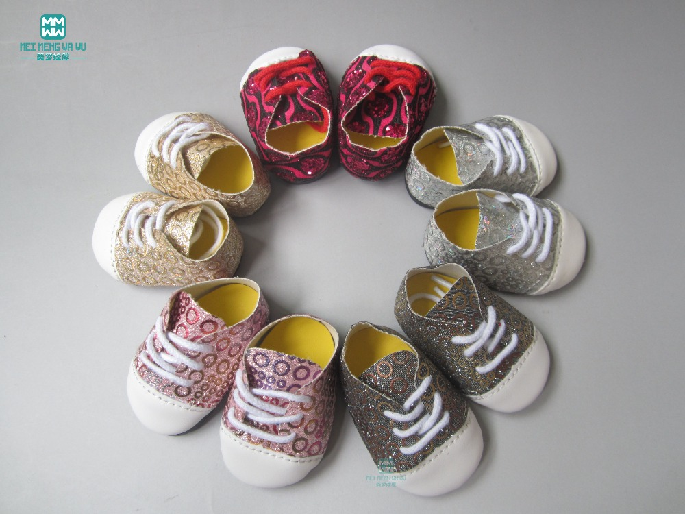 7cm Flash sneakers baby Shoes for Dolls fit 43 cm toy new born doll and american doll accessories