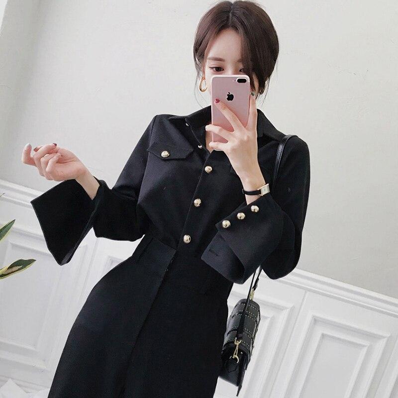 Vintage Noir Unique Poitrine Chemisier & Taille Haute Pleine Pantalon OL Style 2 pièces Mis Printemps Élégant Travail Des Femmes D'affaires ensemble 2019