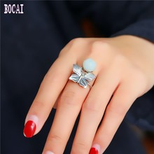 Original small fresh ladies jewelry S925 pure silver  natural stone butterfly lotus ring for women