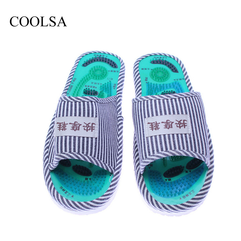 COOLSA Essential Health Care Taichi Acupuncture Massage Slippers High Quality Men's Foot Massage Slippers with Magnet Home Shoes : 91lifestyle