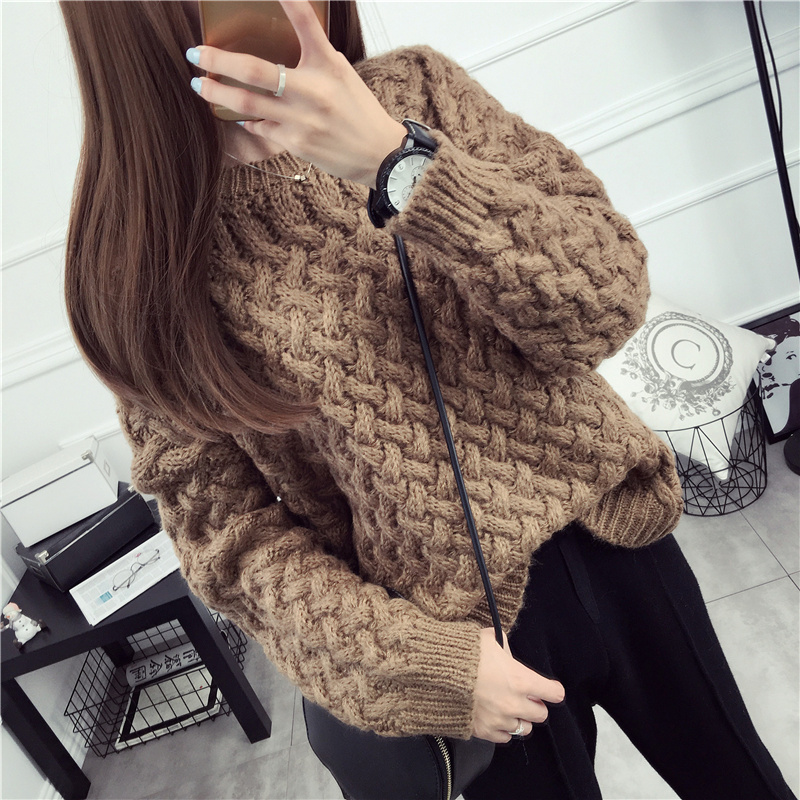 2018 Short design thickening basic sweater female pullover Spring and winter o-neck twisted long-sleeve needle outerwear