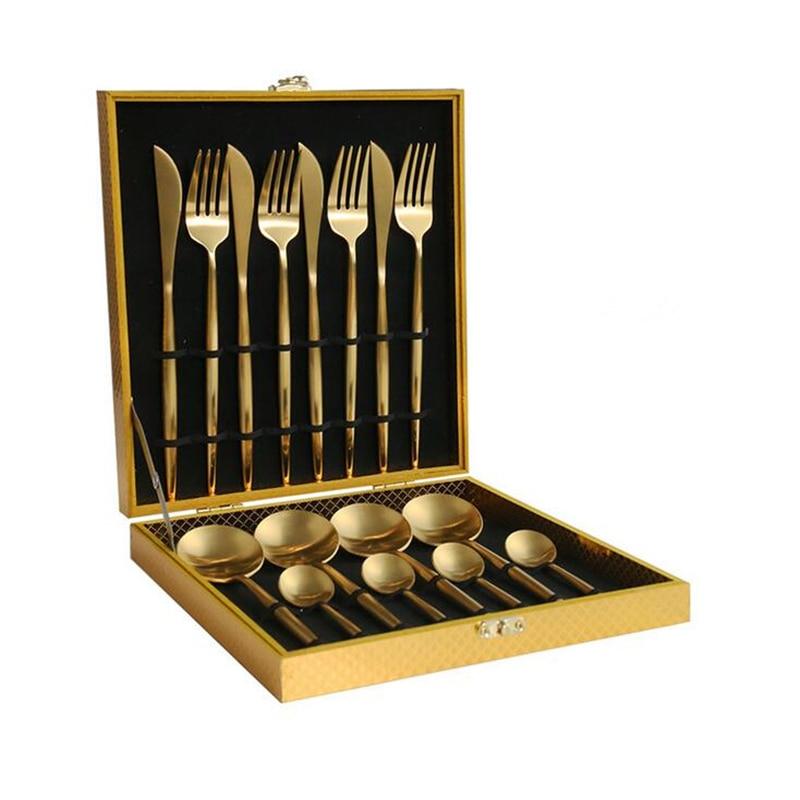 KuBac Hommi Rainbow Cutlery 18 10 Stainless Steel Knife Fork Black Cutlery Set Gold Dinnerware Set
