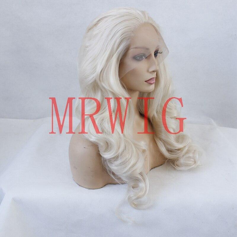 MRWIG fri del lång vågig syntetisk frampigg # 0809 blont äkta hår - Syntetiskt hår - Foto 2
