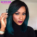 Short Human Hair Wigs T1b/Dark Green Ombre Full Lace Human Hair Wigs Two Tone Color Ombre Bob Lace Front Wig For Black Women