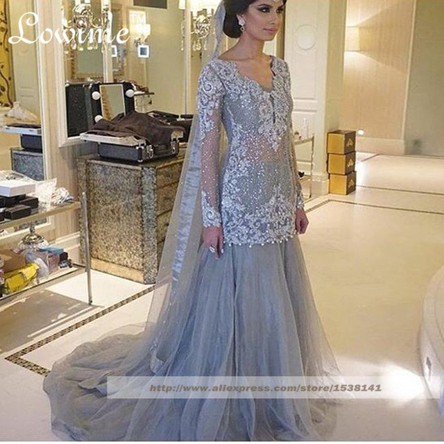 Indowestern Long Sleeves Bridal With Liques Beads Indian Wedding Formal Dress Mermaid