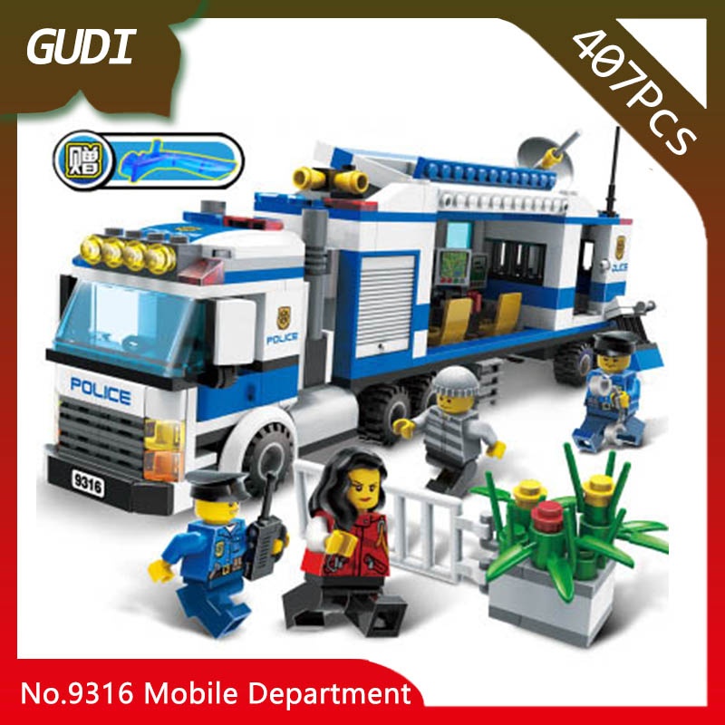 GUDI 9316 407pcs City Series The Mobile Police Department Model Building Blocks Set Bricks Kids Favourite Toys For Birthday Gift