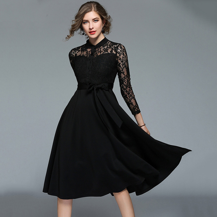 8f8360d9a5f European Fashion Runway Dresses 2018 Women Hollow Out Red Black Lace Dress  Ladies Office Elegant Party Dresses Vestido De Festa-in Dresses from Women s  ...